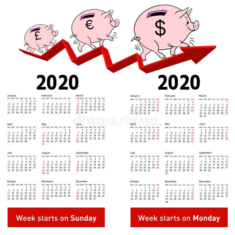 Porcellino salvadanaio alla moda del maiale del calendario per domeniche 2020 in primo luogo immagini stock libere da diritti