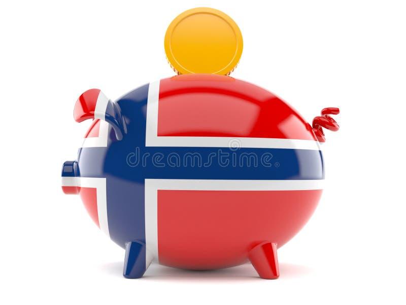 Porcellino salvadanaio in bandiera norvegese con la moneta illustrazione di stock