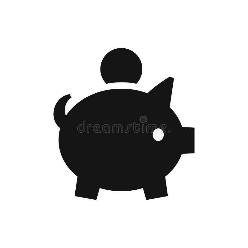 Porcellino salvadanaio con l'icona del nero della moneta, simbolo dei soldi di accumulazione illustrazione vettoriale