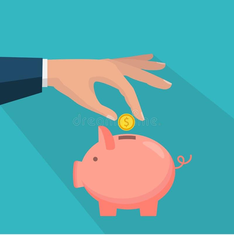 Porcellino salvadanaio con l'icona della moneta, stile piano isolato Concetto di soldi illustrazione di stock