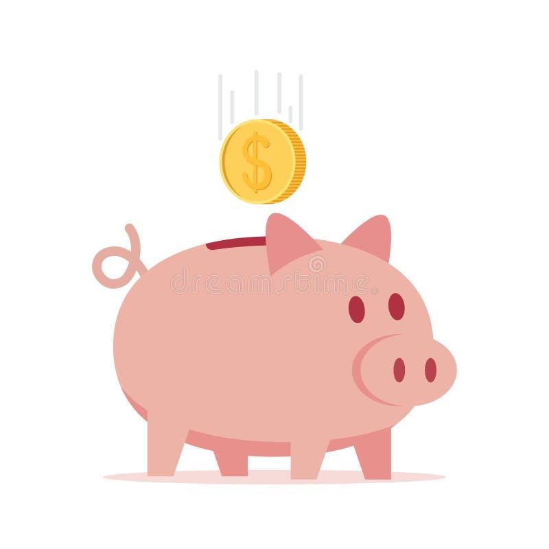 Porcellino salvadanaio con l'illustrazione di vettore della moneta royalty illustrazione gratis