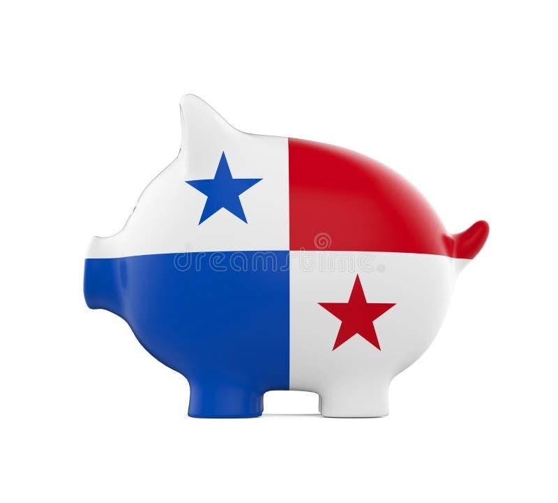 Porcellino salvadanaio con la bandiera del Panama fotografia stock libera da diritti