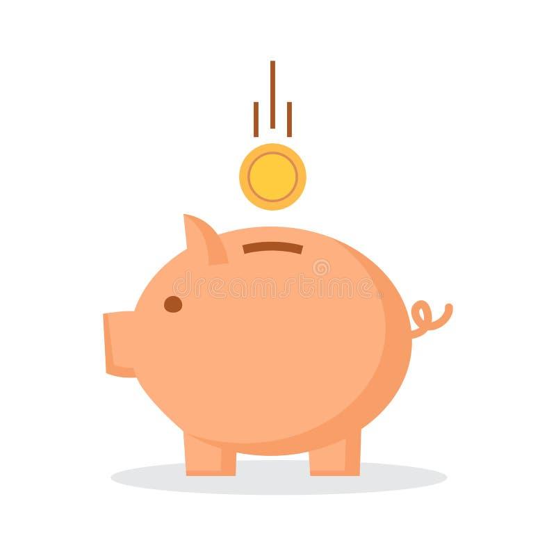 Porcellino salvadanaio con la moneta Illustrazione di vettore illustrazione vettoriale