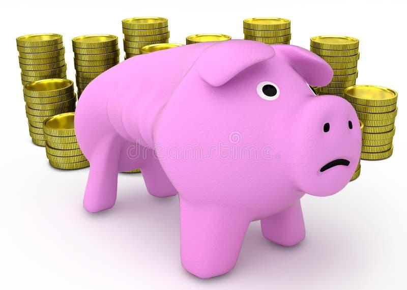 Porcellino salvadanaio con le monete dorate su fondo bianco 3d rendono royalty illustrazione gratis