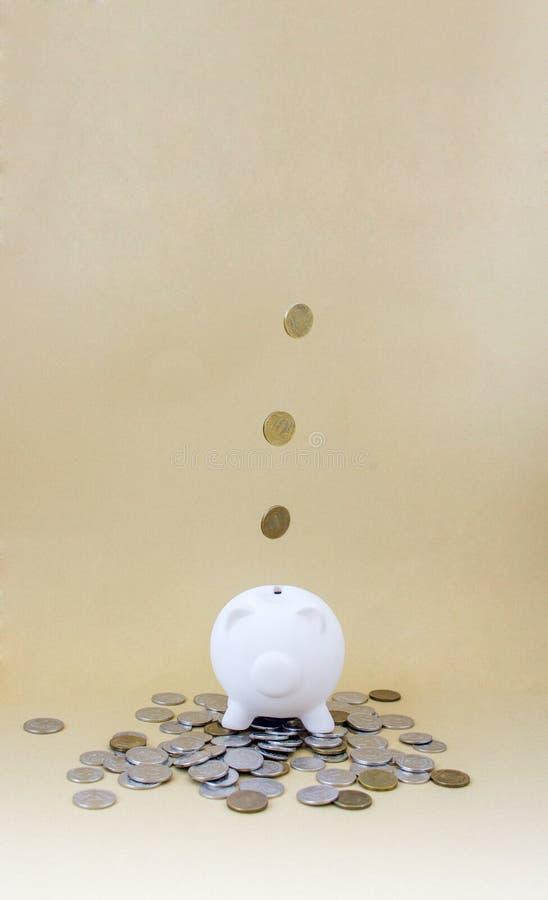Porcellino salvadanaio con soldi e le monete fotografie stock