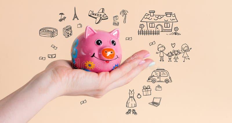 Porcellino salvadanaio dei soldi di risparmio per i sogni immagini stock libere da diritti