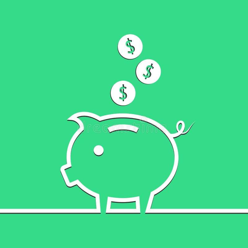 Porcellino salvadanaio dei soldi nella linea su fondo blu Vettore illustrazione di stock