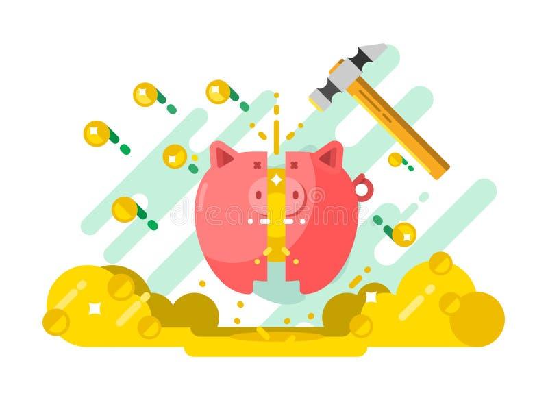 Porcellino salvadanaio della rottura con soldi royalty illustrazione gratis