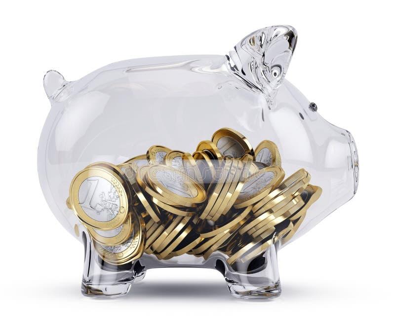 Porcellino salvadanaio di vetro con soldi illustrazione vettoriale
