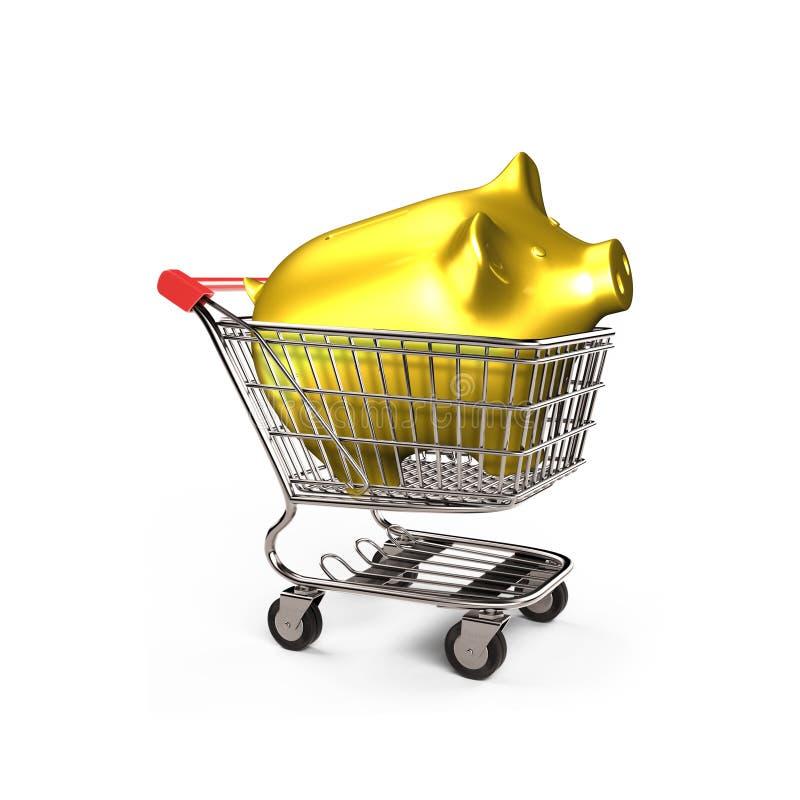 Porcellino salvadanaio dorato in carrello, illustrazione 3D royalty illustrazione gratis