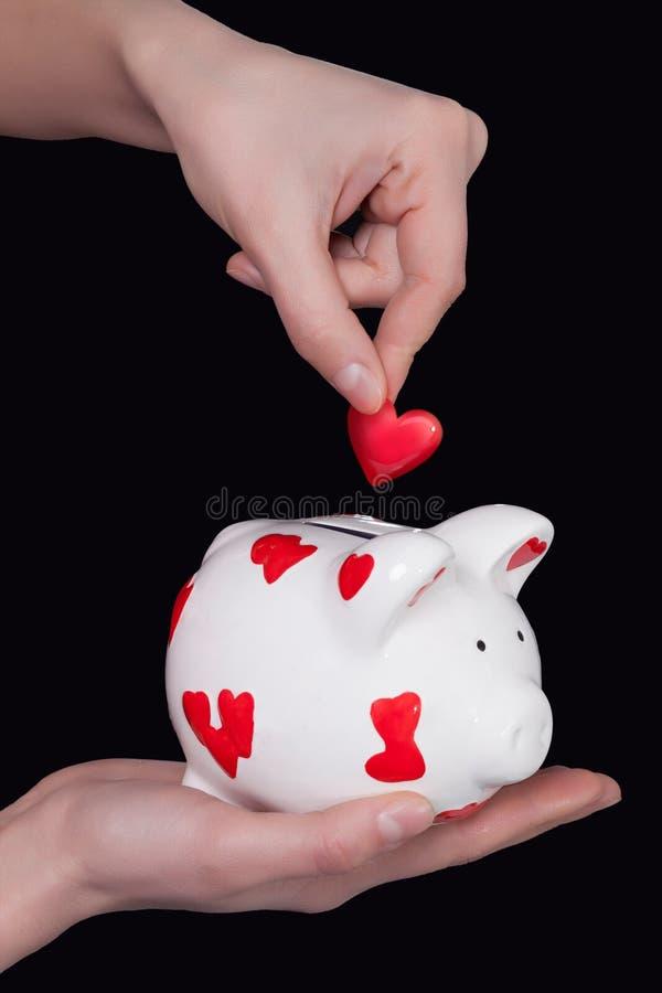 Porcellino salvadanaio e cuore fotografia stock