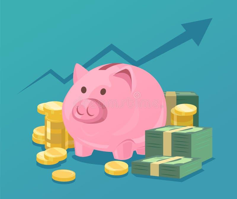 Porcellino salvadanaio e pile di soldi illustrazione di stock