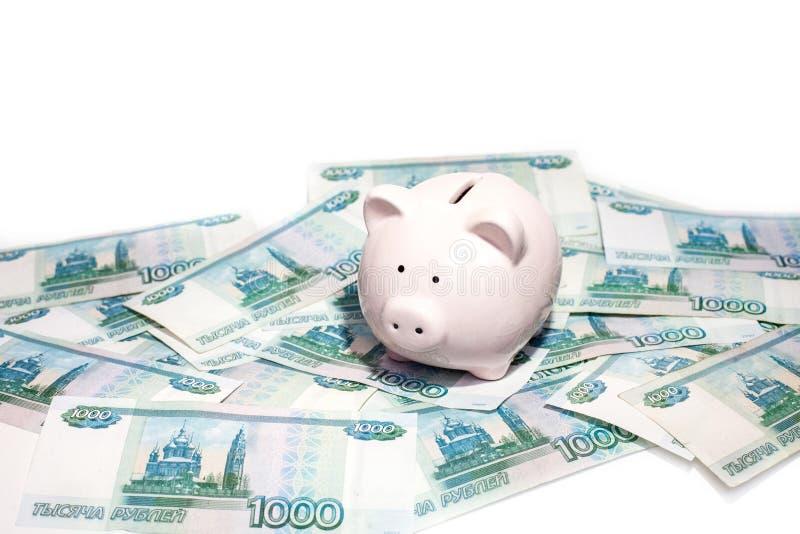 Porcellino salvadanaio rosa con una banconota fotografia stock libera da diritti