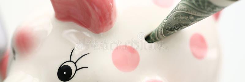Porcellino salvadanaio rosa divertente che tiene una banconota del dollaro americano immagini stock
