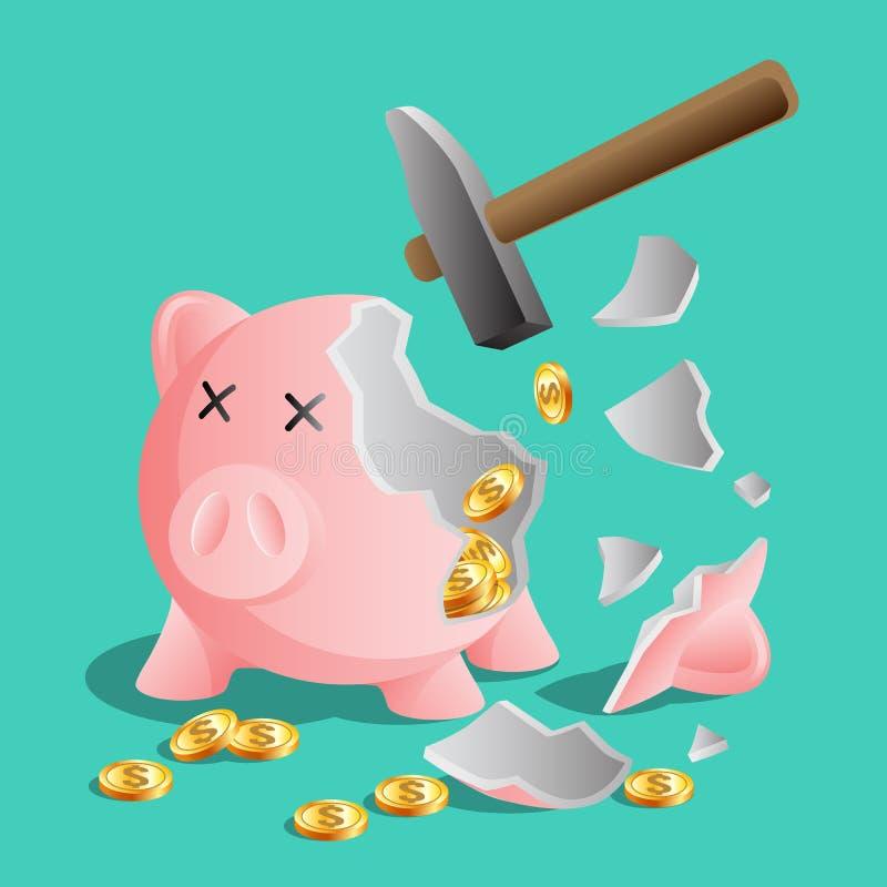 Porcellino salvadanaio rosa rotto dal martello, monete di oro luminose illustrazione di stock