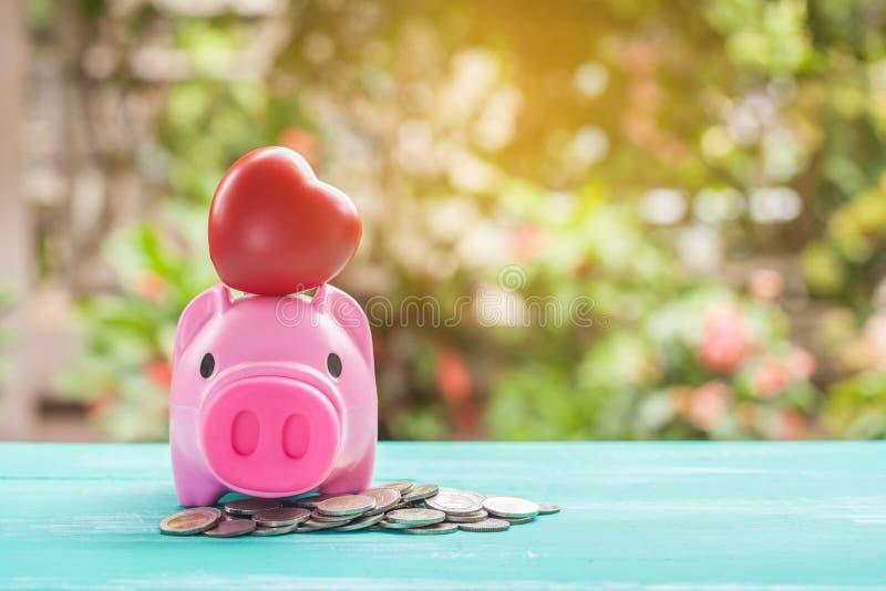 porcellino salvadanaio rosa sopra la pila delle monete, soldi di risparmio immagini stock libere da diritti