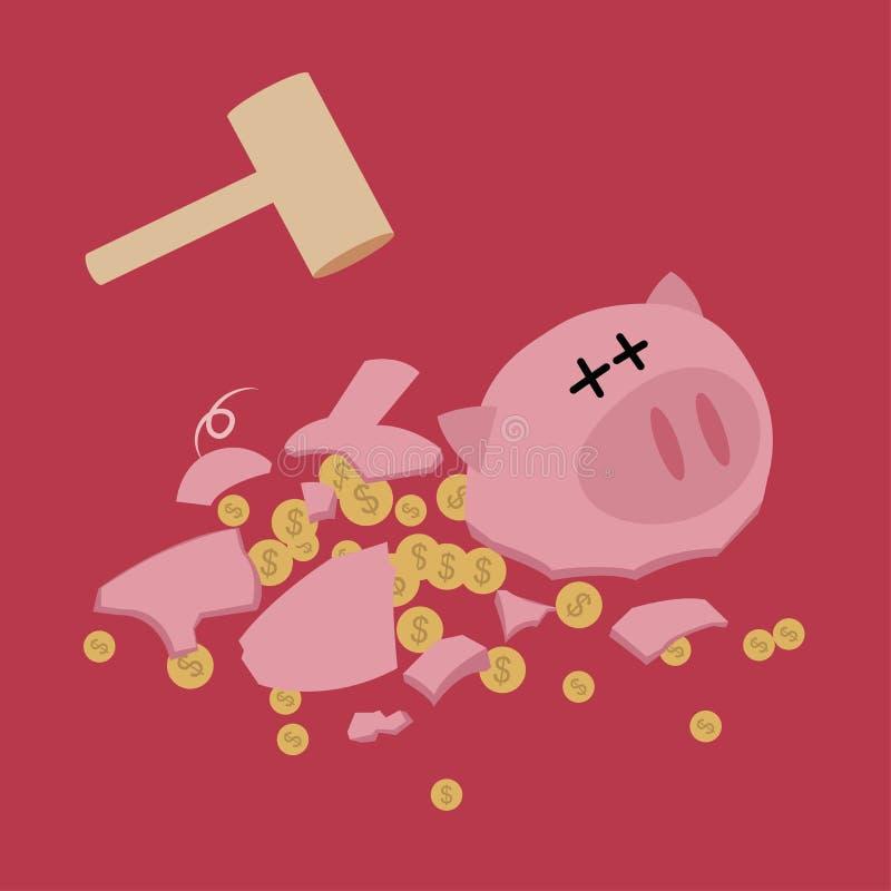 Porcellino salvadanaio rotto con i soldi di risparmio del martello illustrazione di stock