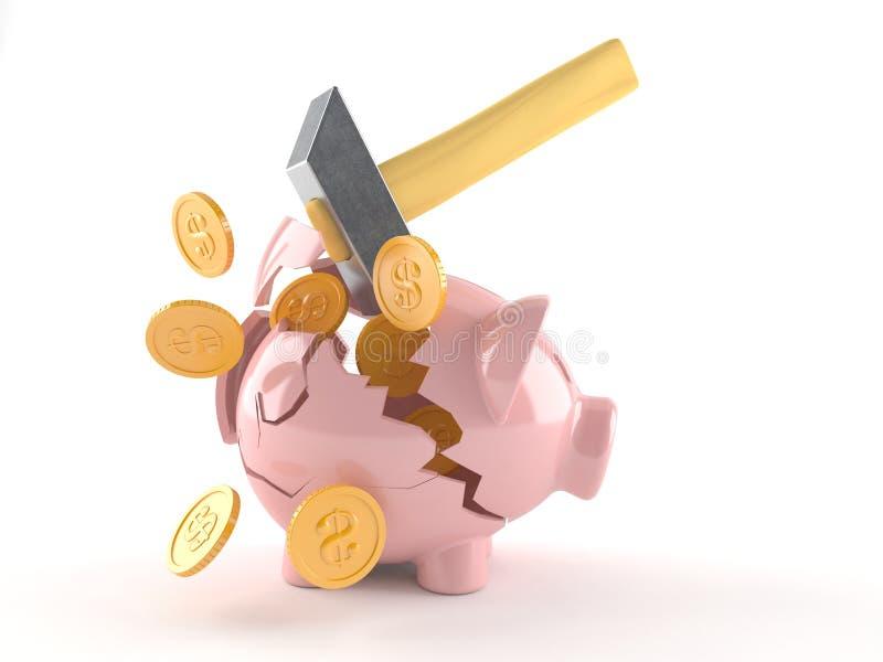 Porcellino salvadanaio rotto con le monete ed il martello illustrazione vettoriale