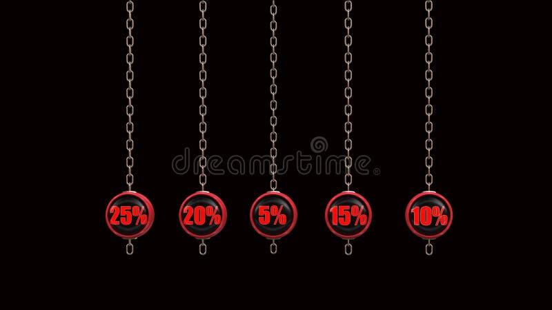A porcentagem numera a série 3d rende ilustração royalty free