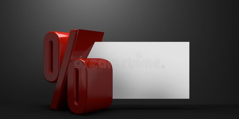 A porcentagem para o tema 3d da bandeira da venda rende ilustração royalty free