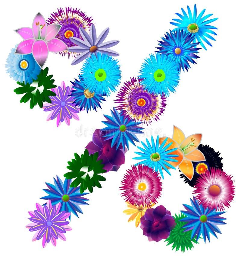 Porcentaje decorativo hermoso del símbolo de diversos colores ilustración del vector