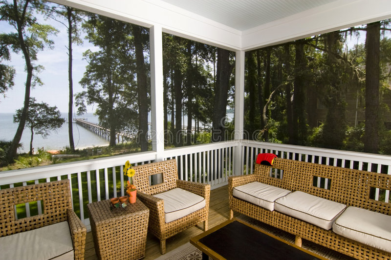 Porch with beach view stock photography