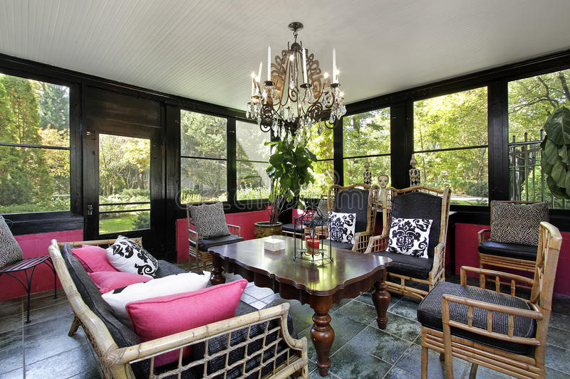 Porch with black trim. Porch in luxury home with black trim royalty free stock images