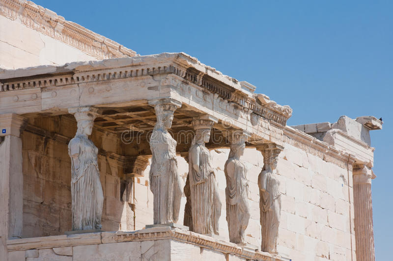 The Porch of the Caryatids. In Athens, Greece royalty free stock photo