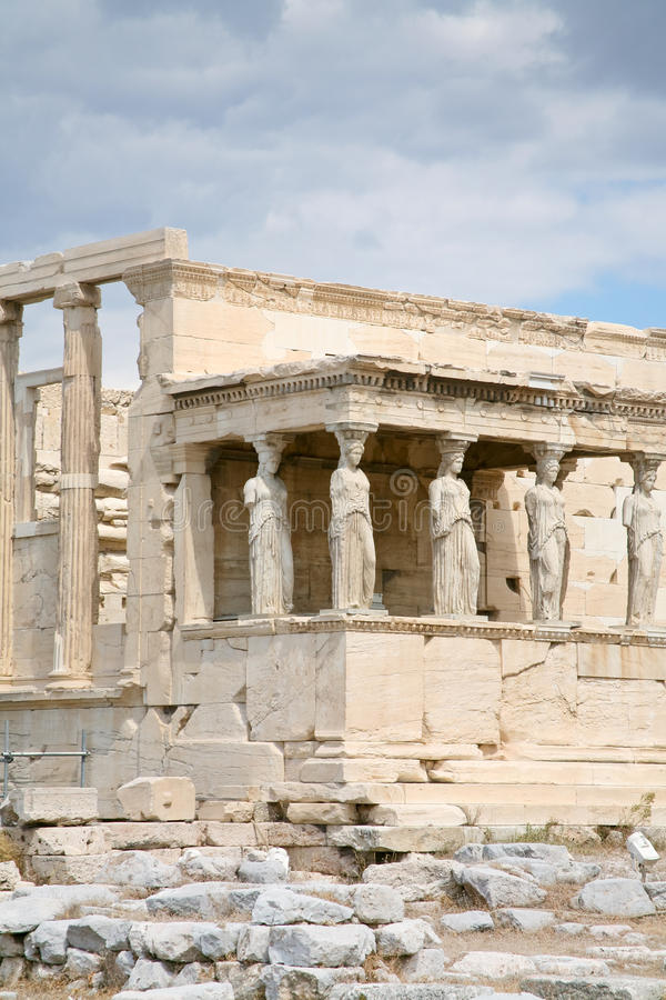 The Porch of the Caryatids. Of The Erechtheum temple, Acropolis,Athens stock image