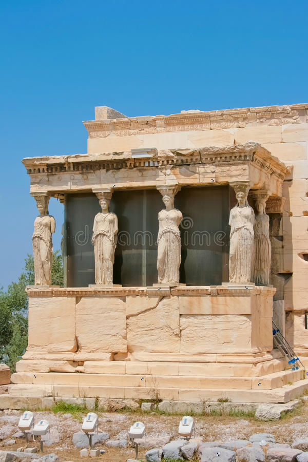 The Porch of the Caryatids. Of Erechtheion in Acropolis of Athens, Greece royalty free stock images