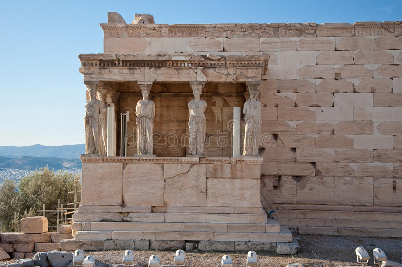 The Porch of the Caryatids on the Acropolis of Athens. The Porch of the Caryatids on August 1, 2013. The Acropolis of Athens stock photo