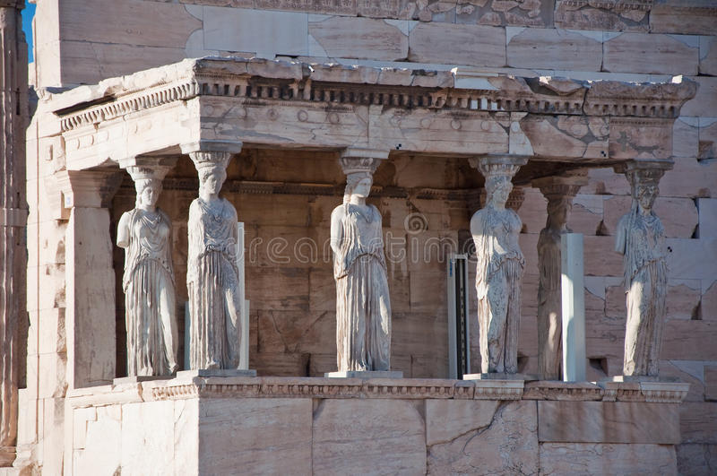 The Porch of the Caryatids on the Acropolis of Athens. The Porch of the Caryatids on August 1, 2013. The Acropolis of Athens stock photos