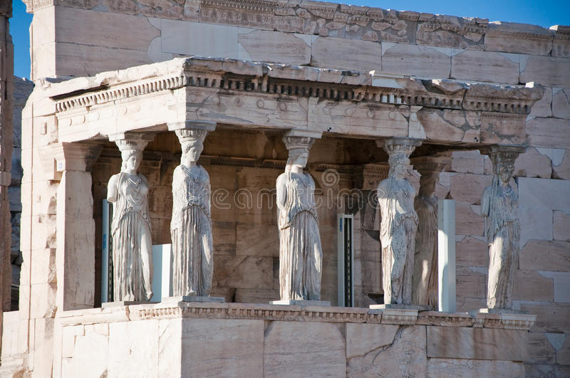 The Porch of the Caryatids on the Acropolis of Athens. The Porch of the Caryatids on August 1, 2013. The Acropolis of Athens royalty free stock images