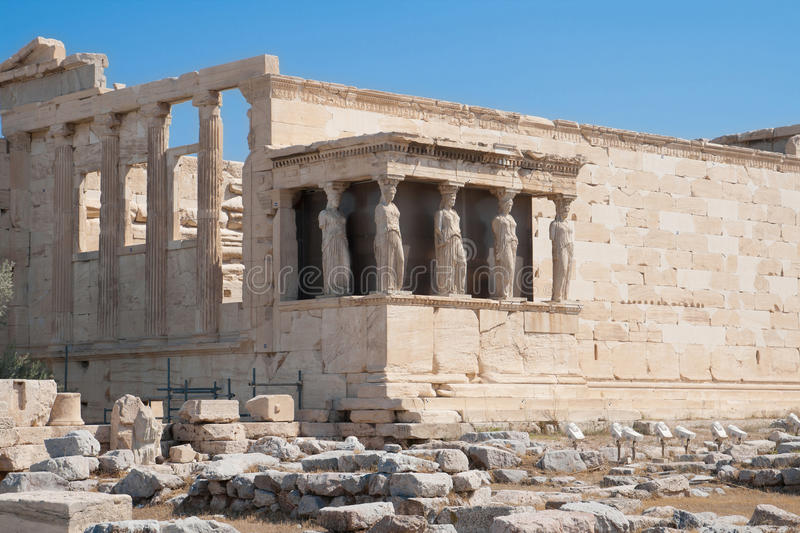 Porch of the Caryatids. In the Acropolis, Athens, Greece royalty free stock photo