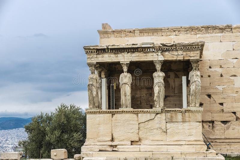 Porch of the Caryatids on the Acropolis of Athens, Greece stock photography