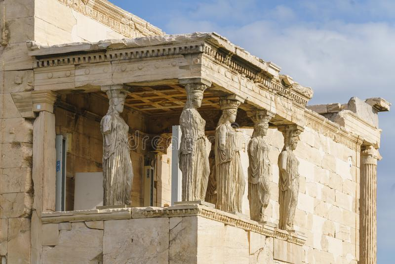 Porch of the Caryatids in the ancient Greek temple Erechtheion or Erechtheum, in the Acropolis of Athens in Greece royalty free stock photos