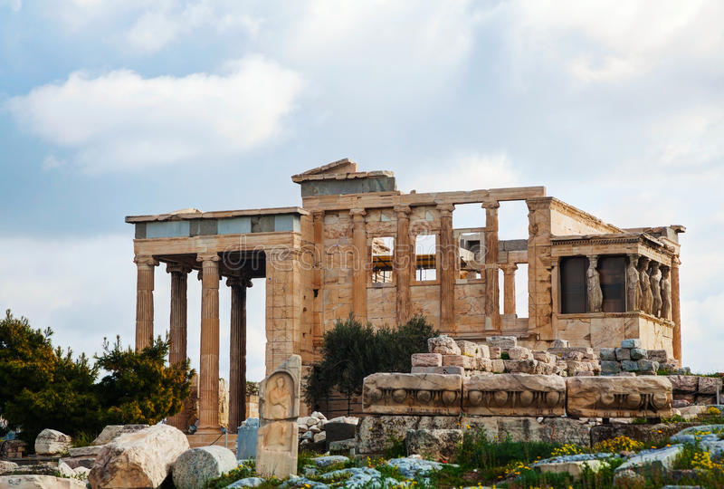 The Porch of the Caryatids in Athens. The Porch of the Caryatids at Acropolis in Athens, Greece stock photos
