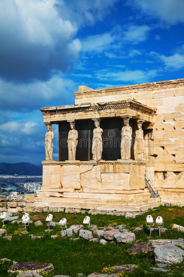The Porch of the Caryatids in Athens. The Porch of the Caryatids at Acropolis in Athens, Greece stock images
