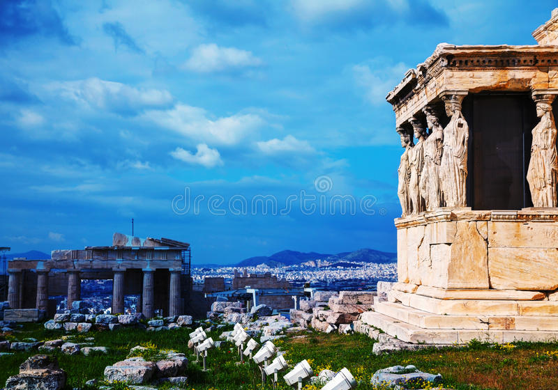 The Porch of the Caryatids in Athens. The Porch of the Caryatids at Acropolis in Athens, Greece stock photo