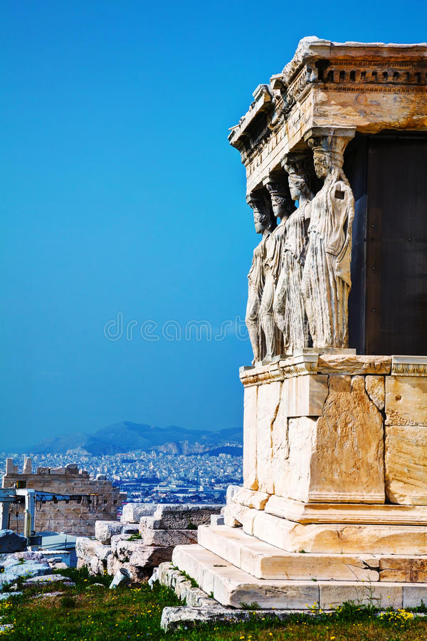 The Porch of the Caryatids in Athens. The Porch of the Caryatids at Acropolis in Athens, Greece royalty free stock images