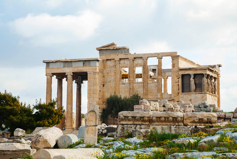 The Porch of the Caryatids in Athens. The Porch of the Caryatids at Acropolis in Athens, Greece royalty free stock photo