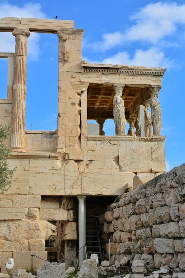 The Porch of the Caryatids details. Porch of the Caryatids in Acropolis, Athens, Greece royalty free stock photo