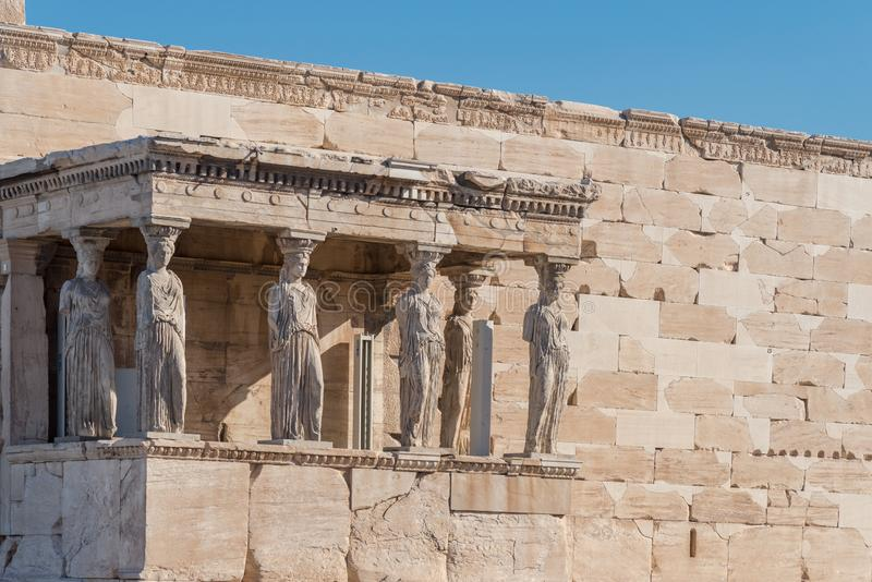 The Porch of the Caryatids in The Erechtheion an ancient Greek t royalty free stock image
