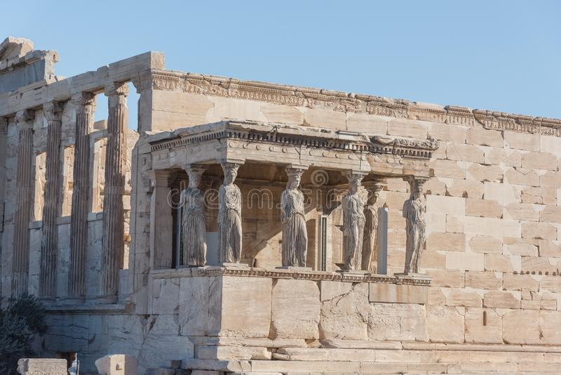 The Porch of the Caryatids in The Erechtheion an ancient Greek t. Emple, Acropolis of Athens, Greece. Destination Hill stock photography