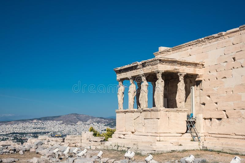 The Porch of the Caryatids in The Erechtheion an ancient Greek t royalty free stock images