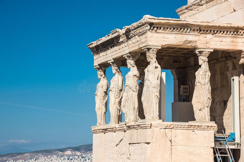 The Porch of the Caryatids in The Erechtheion an ancient Greek t royalty free stock photo
