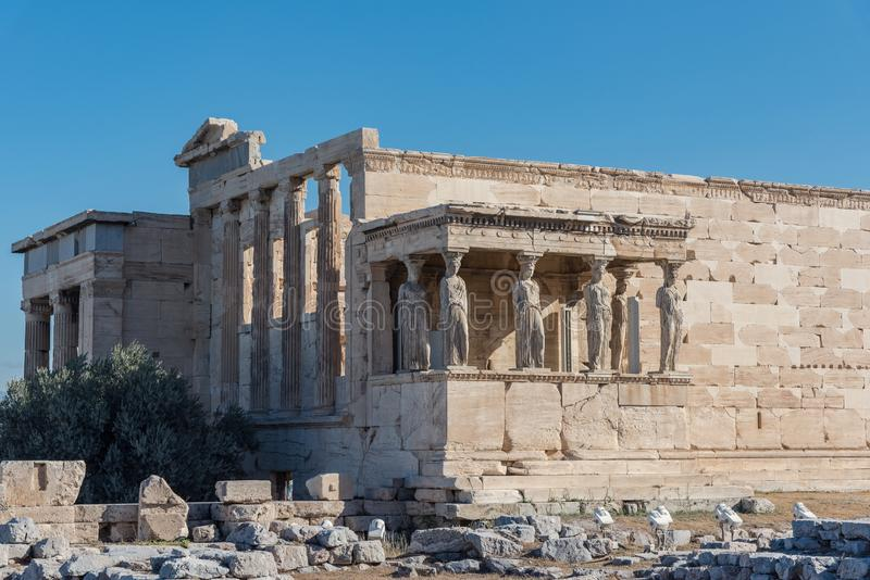 The Porch of the Caryatids in The Erechtheion an ancient Greek t stock photo