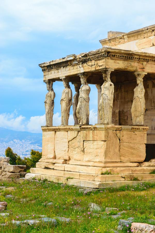 Porch of the Caryatids of Erechtheion ancient Greek temple royalty free stock image