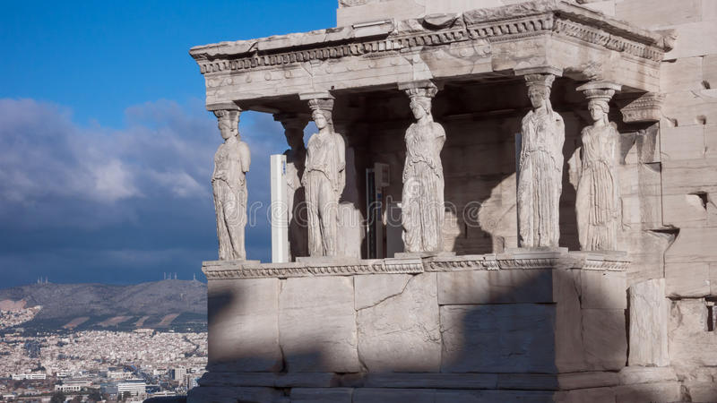 The Porch of the Caryatids in The Erechtheion an ancient Greek temple on the north side of the Acropolis of Athens royalty free stock images