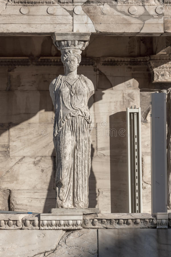 The Porch of the Caryatids in The Erechtheion an ancient Greek temple on the north side of the Acropolis of Athens, Greece royalty free stock image